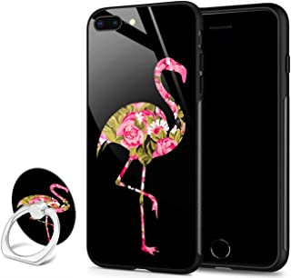 iPhone 8 Plus case,iPhone 7 Plus case,Slim Fit Tempered Glass Back Design Shock Absorption Bumper TPU Protective Cover Phone Case for iPhone 7/8 Plus - Tropical Flamingo