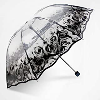 Fashion Rose Beautiful Transparent Umbrella Japan Women S Folding Umbrellas Rain Women Parapluie Lace Parasol Female Rain Gear Zzbiao (Color : Rose)