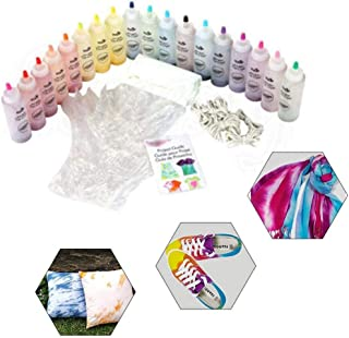 Bee-UAE 18-Color Tie-Dye Kit DIY Fabric Textile Tie-Dye Party Supplies,Safe Durable-Including 18 Bottles of Materials for ...