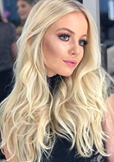 PINKSHOW Ombre Platinum Blonde Lace Front Wig for Women Blonde Long Wave Curly Synthetic Wig with Dark Roots Hair Replacement Wig Natural Hairline Heat Safe Hair Wig 24