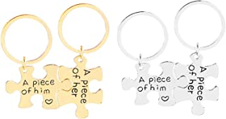 """Aooaz Key Chain Id Tag 2 Pcs Matching Puzzle""""A Peice of Him/Her"""" Inspirational Keychain Girls"""