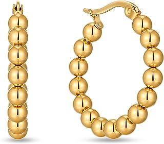 LILIE&WHITE الخرزة الذهب هوب أقراط للنساء الفولاذ المقاوم للصدأ الخرزة مكتنزة أقراط هوب للبنات أزياء الذهب أقراط لطيف