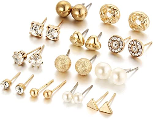 Shining Diva Fashion Latest 24-36 Pairs Earrings Combo Set Crystal Pearl Stud Earrings for Women and Girls