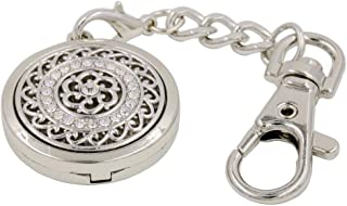Essential Oil Diffuser Floating Locket Keychain for Women Girls' Handbag+6 Color Pads (Clear Stones)