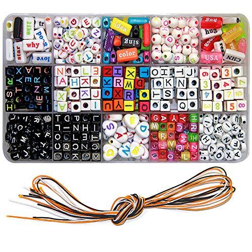 Ewparts DIY Armband Buchstaben Perlen , Acryl Alphabet Buchstaben Perlen für Schmuck Machen, Armbänder, Halsketten, Schlüsselanhänger