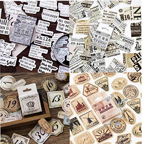 46pcs / Box Vintage Reise-aufkleber Kraft Dekorative Selbstklebende Etiketten Dichtungs-aufkleber Scrapbooking Weinlese-gepäck-aufkleber Graffiti Aufkleber Weinlese-reise-etiketten Retro Vintage