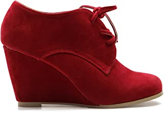 Ollio Women's Shoe Faux Suede Wedge Heel Fashion Ankle Lace Up Boot