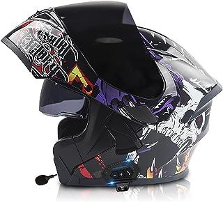 Letetexi Casco de Moto Modular con Doble Anti Niebla Visera,Bluetooth Integrado Cascos de Motocicleta con un Micrófono Inc...