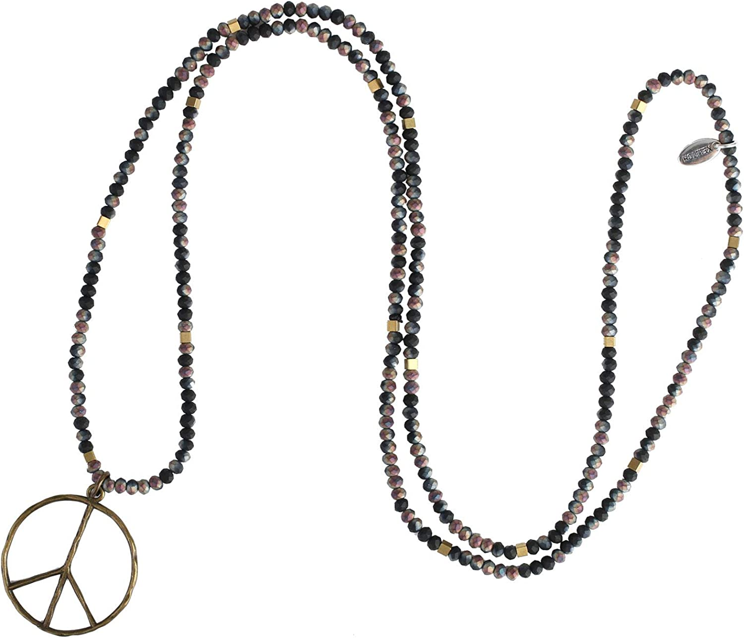 KELITCH Classic Peace Sign Necklace Love Hippie Pendant Frosted Crystal Beaded Necklace