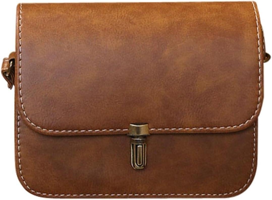 Bolayu Women Lady Leather Satchel Handbag Shoulder Tote Messenger Crossbody Bag Bullet lock Leather Messenger Bag