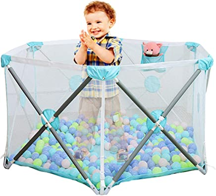 WJSW Baby Playpen  Foldable Portable  Divider Child Kids Barrier Expandable Fence  Strong and Durable Infant Play Pen  Height 28 7 quot