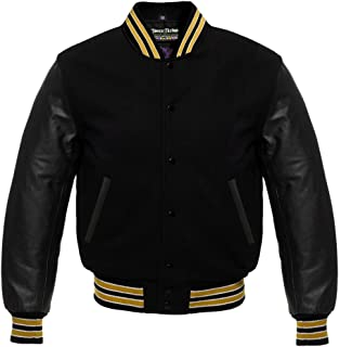 Varsity Solid Black Wool and Genuine Leather Sleeves Letterman Jacket in Gold Trimming
