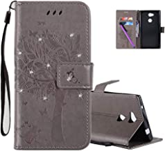 HMTECHUS Sony Xperia L2 Case 3D Crystal Embossed Love Tree Cat Butterfly Pattern Handmade Diamonds Shine Bling Diamonds PU Flip Stand Card Holders Wallet Cover for Sony Xperia L2 Gray