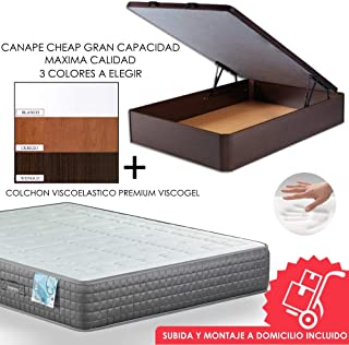 MICAMAMELLAMA Canapé de Madera Cheap + Colchón viscoelástico Reversible Premium - Montaje Incluido (WENGUE,
