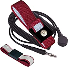 StaticTek   Anti-Static Anti-Allergy ESD Personal Grounding Wrist Band with Coil Cord   Woven Fabric ESD Wrist Strap Set   WB5000 Series   Maroon   4mm Snap/6' Cord - (1 Set)   TT_WB5637-1SET