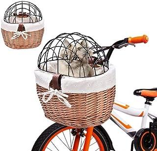 Cykelkorg för transport av husdjur framtill på cykel.