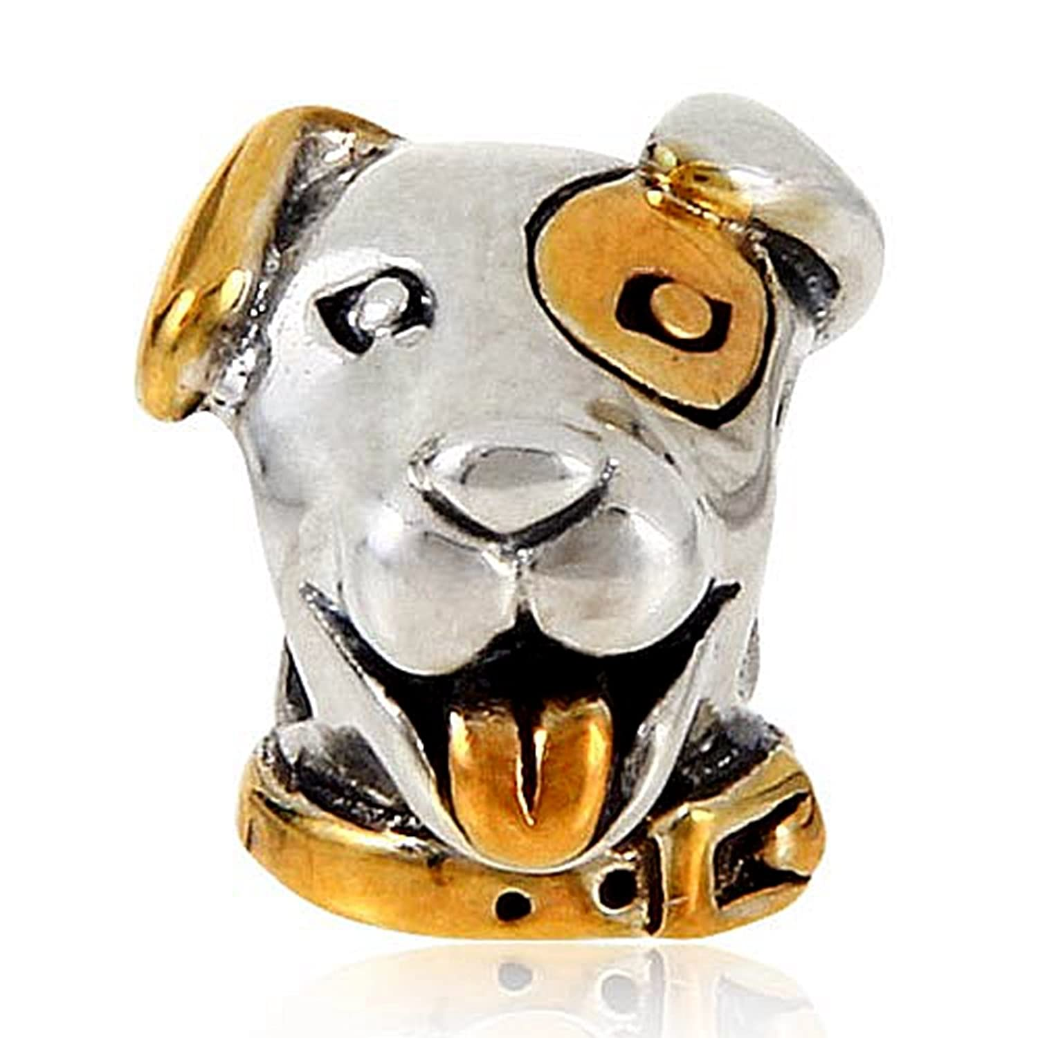Luckybeads Gold Plated Lucky Dog Beads Charm Original 100% Authentic 925 Sterling Silver Beads fit for DIY Charms Bracelets