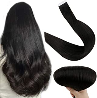 Full Shine Brazilian Hair Natural Hair Remy Tape Extensions 16 Inches 100% Human Hair Silk Straight Remy Hair Tape On Rea Hair Color #1B Off Black 50g Human Hair Tape Fusion Tapes