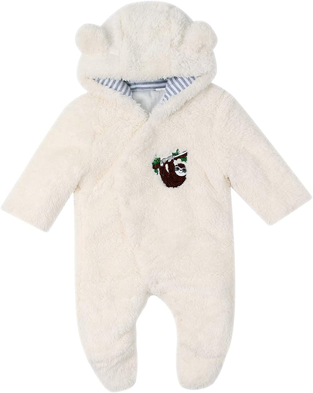DDY Baby Fleece Snowsuit/Romper Hooded Footed/Onesies Flannel Zipper Jumpsuit/Winter Coat Outfit Suit for Newborn Baby Boy Girl