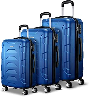Wanderlite 3 Pcs Lightweight Luggages Hard Suitcases and Scale, Blue