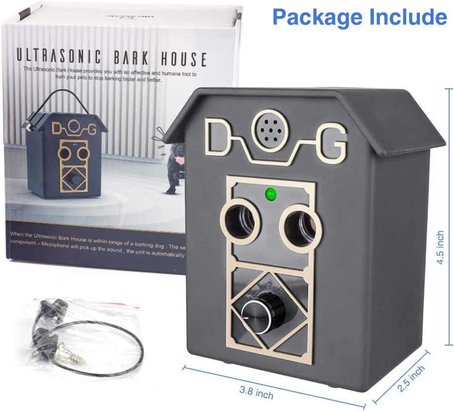 Detects Sound of Dog Barking up to 50 Feet for All Dog Anti Barking Device Bark Control Device with 4 Level Operation and Led Indication Upgrade Anti-Barking Device with 2 Ultrasonic Sound Speaker