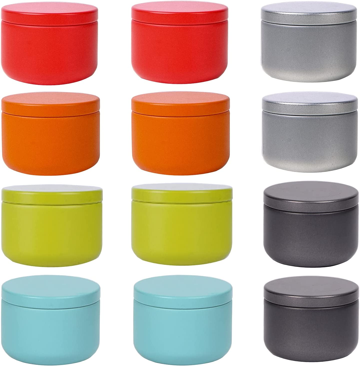 LONG XIN SERIES 12 Pcs 2.1x1.6 Inches Round Tin Jar Tea Tins Food Storage Container for Loose tea, Coffee, Candy, Spice, Gift and Crafts Mini Portable Storage Kit (Multicolor)