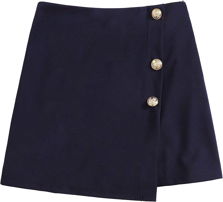 Milumia Women Elegant Button Wrap Mini Skirt Asymmetrical Zip Side Work Short Skirt