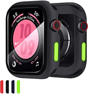 Compatible with Apple Watch Case with Screen Protector, Full Protective Cover Case Silicone Bumper + 9H Bulletproof Glass ...