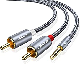 JSAUX RCA Cable, [4ft/1.2M, Dual Shielded Gold-Plated] 3.5mm Male to 2RCA Male Stereo..