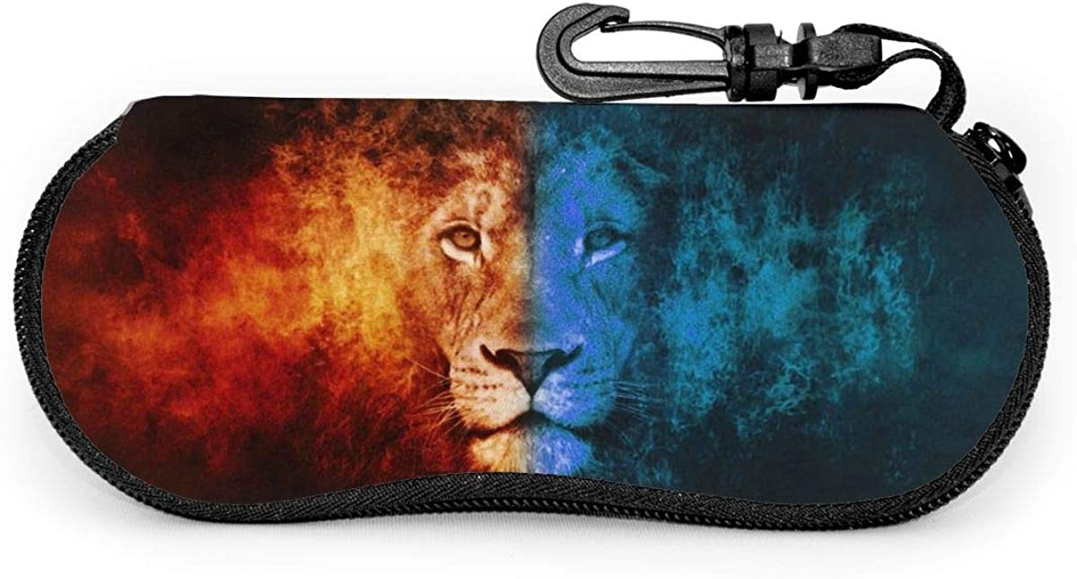 Fire And Ice Lion Face Sunglasses Soft Case Ultra Light Neoprene Zipper Eyeglass Case With Key Chain