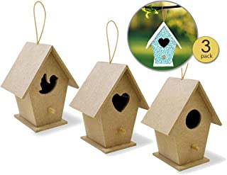 3 Pk Unfinished Wooden Bird Houses to Paint for Kids & Adults MDF Mini Bird Feeder Houses to Decorate with Cord for Hanging Unpainted DIY Arts & Crafts Craft Bird Houses 4