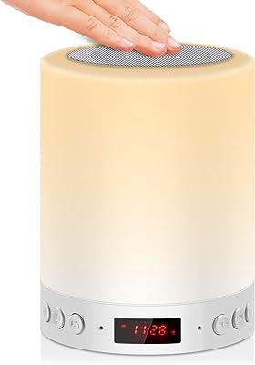 5 EN 1 Lampe de Chevet Tacile Rechargeable Portable,JOLVVN Veilleuse LED Lampe de Table Enfant Enceinte Bluetooth Musique USB FM Radio Réveil Numérique Multicolore Cadeau Hommes/Femmes