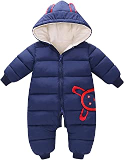 famuka Baby Romper Snowsuit Hooded Puffer Jacket Warm Thicken Winter Outerwear Jumpsuit