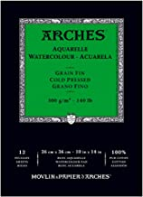 Canson Canson Arches Cold Press Watercolor Pad, 10 x 14 Inch, 12 Sheets, 400014955, Natural White, 10 by14-Inch