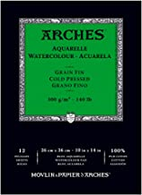 Canson Arches Cold Press Watercolor Pad, 10 x 14 Inch, 12 Sheets