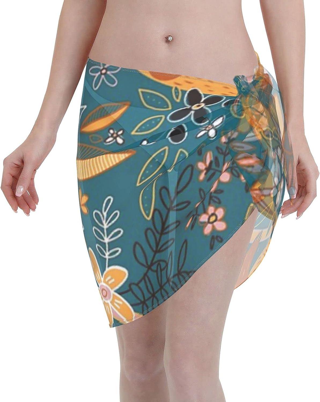 Happy Boho Sloth Floral Women Chiffon Beach Cover ups Beach Swimsuit Wrap Skirt wrap Bathing Suits for Women
