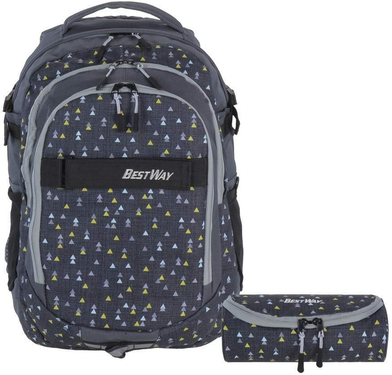 Bestway Schulrucksack Ranzen Schultasche Set dunkelgrau Rucksack mit Stiftetui und Regenhülle