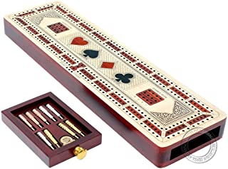 House of Cribbage 3 Track Continuous Cribbage Board inlaid in Maple Wood/Bloodwood - Size: 12.5