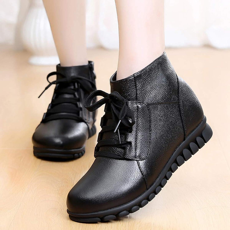 Winter New Warm Mother Cotton shoes, Plus Velvet Thick Leather Cotton Boots, Snow shoes Women's shoes,Black,36
