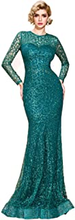 Lin Lin Q Women O Neck Long Sleeve Pattern Glitter Bling Maxi Elegant Dress