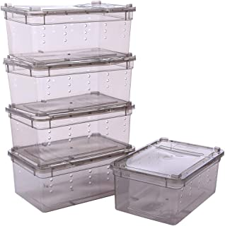 Petforu Breeding Box 5pcs, Worm Dish Reptile Feeding Box Food Container with Lid Small (Transparent Black S)