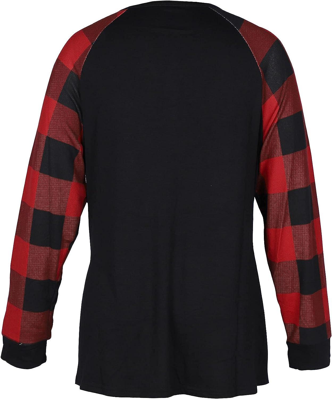 Womens Plus Size Flannel Tops Buffalo Plaid Sleeve Shirts Button Long Sleeve Tee Lightweight Raglan Tops Blouse
