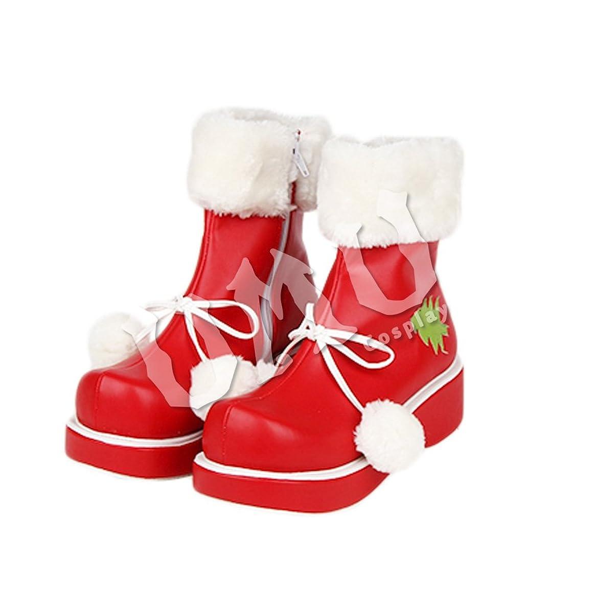 耳惨めなむき出し【UMU】 足23cm LOLITA ロリータ クリスマス 赤 緑 樹 冬 毛玉 風 靴 オーダーメイド(ヒール高、材質、靴色は変更可能!)