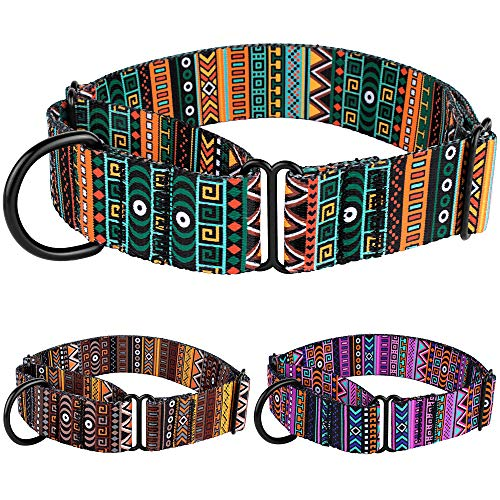 CollarDirect Martingale Collars for Dogs Heavy Duty Tribal Pattern Adjustable Soft Safety Training Nylon Wide Pet Collar Medium Large (Pattern 1, XL, Neck Size 19'-24')