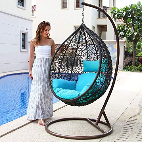 Island Gale Hanging Basket Chair Outdoor Front Porch Furniture with Stand and Cushion (Brown Wicker, Turquoise Cushion)
