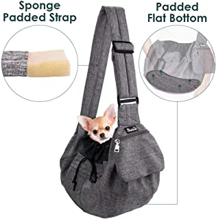 AutoWT Padded Dog Sling, Dog Papoose Puppy Pet Carrier with Bottom Supported Hands Free Sling Adjustable Shoulder Strap and Bag Opening Front Zipper Pocket Safety Belt for Dogs