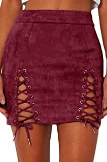 Womens Sexy Side Lace Up Cutout High Waist Bodycon Suede Mini Skirt