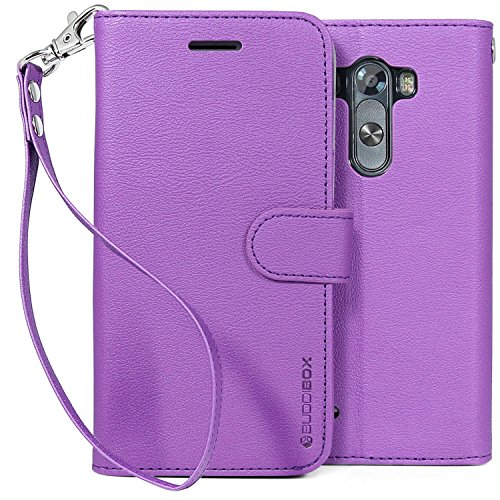 LG G3 Case, BUDDIBOX [Wrist Strap] Premium PU Leather Wallet Case with [Kickstand] Card Holder and ID Slot for LG G3, (Purple)