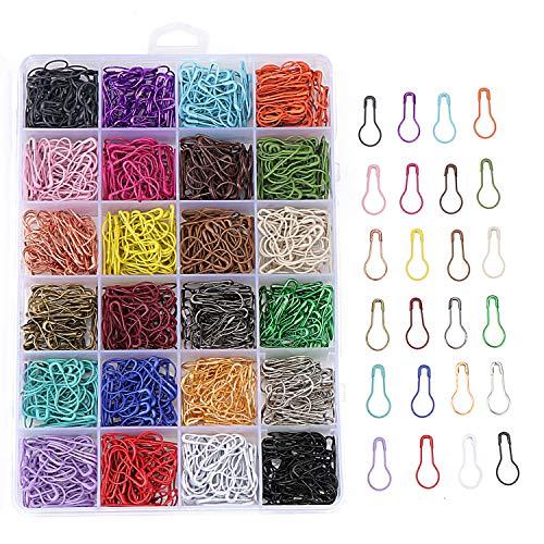 TsunNee Sicherheitsnadeln, 24 Farben, Metall, birnenförmige Pins, Kalabaschstifte für DIY Handwerk, 1200 Stück