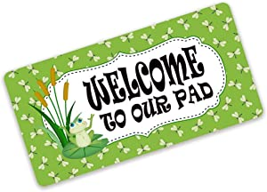 EricauBird Welcome to Our Pad Sign Cute Frog Sign Metal Wreath Sign Attachment Décor for Home Bar Cafe Dining Room Billiard House Hotel Club Wall 8×12 Inch Wreath Sign Spring Wreath Sign